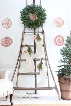 ladder, stockings, greenery