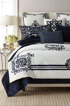 This contains: Luxury Bedding Collection #luxurybedding #bedding #designerbedding King Duvet Cover Sets, Queen Comforter Sets, Duvet Sets, Luxury Duvet Covers, Luxury Bedding Sets, Dreams Beds, Bedroom Sets, Bedroom Comforters, Bedrooms