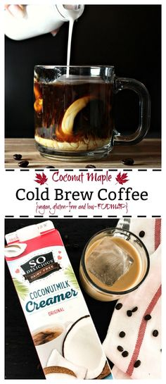 This vegan coconut maple cold brew coffee has a hint of sweetness and touch of coconut cream. It is dairy-free, gluten-free and low FODMAP.