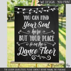 Printable Wedding Sign Seating find your seat by DigitalPrintShop