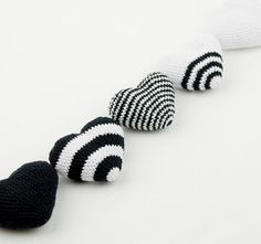 Black & White Crochet Hearts