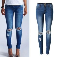 Holes Ripped Straight Slim Beggar High Waist Jeans
