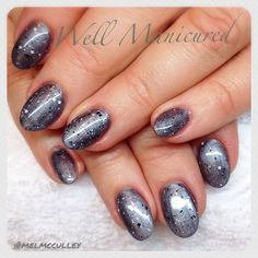 Gel colors: #MidnightCaller with the #Trends #APinchofPepper on top! Fun! #wellmanicured #nails #nailtrends #gelishtrends #gel #gelpolish #gelishtrends #manhattanbeach #manicure #intheheartofthesouthbay #hermosabeach #la #silver #gray #nailpro #nailsalon #nailartist #roundnails #acrylic #Padgram