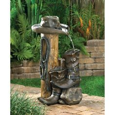 Who says that fountains have to be frilly? This ranch-style accent is loaded with authentic cowboy styling for a delightfully different take on garden decor. Real rustic weathered finish makes it an i