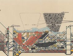 Pivotal Architectural Drawings : Plug in City by Peter Cook for Archigram (1964)