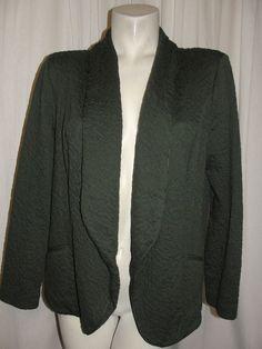 Chico's Jacket Women's 12/14 Green Textured Shawl Open Front LS Blazer Size 2 L #Chicos #BasicJacket #WorkCasual