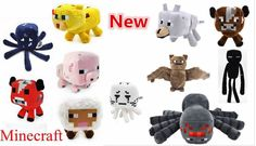 1Pc Wholesale Minecraft Plush Toys Ghast/Enderman/Mooshroom/Wolf/Ocelot/Pig/Squid/Bat/Spider/Creeper For Baby Child Gift