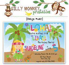 Aloha Hawaiian Luau theme birthday invitation by SillyMonkeyPrints