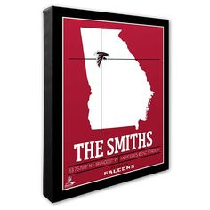 Buy personalized NFL wall art featuring the Atlanta Falcons stadium coordinates & a map of Georgia. Add any 1 line of text to complete your custom canvas print. Atlanta Falcons Stadium, Atlanta Hawks, Nfl Stadiums, Sports Wall, Custom Canvas Prints, Artist Canvas, Canvas Wall Art, Nba, Man Cave