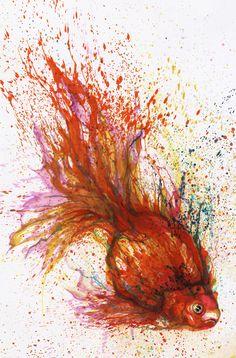 Really like this artist's splatter artwork. Art by Hua Tunan.
