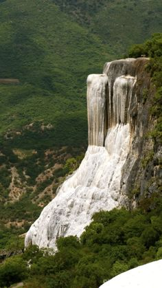 Hierve el Agua, Oaxaca, Mexico — by Jo This is a Petrified Waterfall. 2 hours drive from Oaxaca- partly on a very bumpy dirt road! So peaceful and lovely. Oh The Places You'll Go, Places To Travel, Places To Visit, Beautiful Waterfalls, Beautiful Landscapes, Belize, Travel Around The World, Around The Worlds, Guatemala