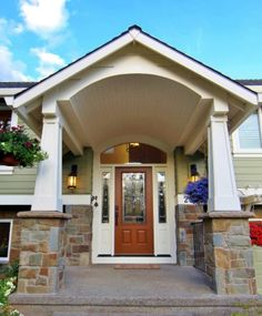 Split foyer entry remodel in the Arts & Crafts/Bungalow style.