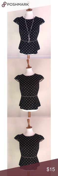 LOFT polka dot peplum blouse - Size 6/M - I don't trade or sell outside of posh. - I ship every single day!  - All items come from a smoke free home!  - If you have anymore questions just let me know and I would be happy to help! 🙂 LOFT Tops Blouses
