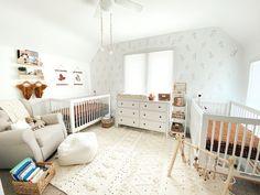 Small Twin Nursery, Twin Nursery Gender Neutral, Twin Baby Rooms, Twin Baby Girls, Baby Bedroom, Neutral Nurseries, Triplets Nursery, Nursery Bedding, Nursery Room