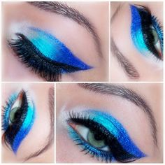 This eye makeup uses teal and blue eyeshadow pigments with a pearl finish. It is completed with a cat eye and false eyelashes. Create this look using these impeccable eye essentials.