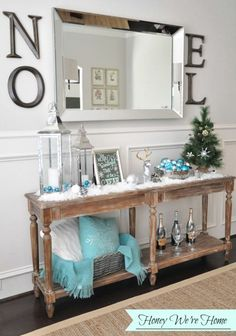 Blue can be a stunning accent colour for your Christmas decor style; Blue Christmas and Coastal Christmas Style Series decor, DIY, inspiration. Little Christmas, Christmas Home, Christmas Holidays, Christmas Mantles, White Christmas, Christmas Villages, Vintage Christmas, Vintage Santas, Blue Christmas Decor