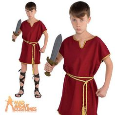 Child Roman Tunic Costume Boys Toga Warrior Burgundy Fancy Dress Outfit New