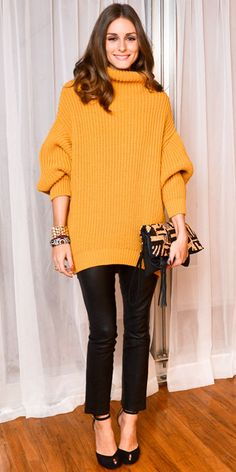 Olivia Palermo - Look of the Day - InStyle - Palermo helped launch the Elin Kling for Marciano capsule collection in the label's oversized sweater. A printed clutch, stacked bangles, cropped trousers and ankle-strap heels completed the ensemble.