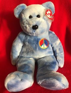 Ty Beanie Buddy PEACE SYMBOL the Bear MWMT 14 2003 Vintage Stuffed Animal  Toy eb39108dad65