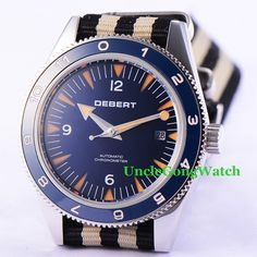 >> Click to Buy << Debert 41mm Sapphire Glass Watches Blue Dial Ceramic Bezel Mens Relojes Fabric Strap Miyota Movement Automatic Armbanduhr #Affiliate