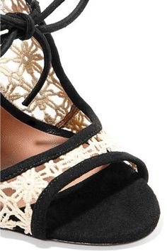 Tabitha Simmons - Cali Daisy Guipure Lace And Suede Sandals - Off-white - IT41