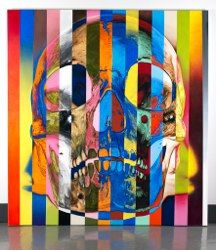 16 Stripe Color Skull acrylic painting by Victor Rodriguez