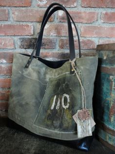 MILITARY BAG TOTE Utilitarian Leather & Canvas by TnBCdesigns