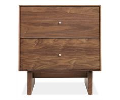 Room & Board - Hudson 20sq 22h Two-Drawer Nightstand with Wood Base