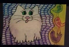 """Fat Cat"" hand drawn, ink and colored watercolor pencils."