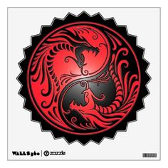 red and black | Yin Yang Dragons, red and black Wall Skin from Zazzle.com