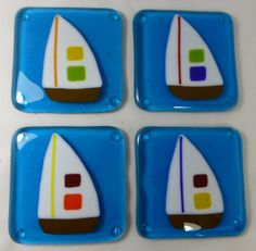 Fused Glass Coasters with Sailboat on Turquoise Ocean - set of 4 £24.00