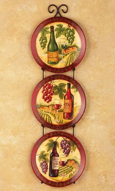 Vineyard Grape Wine Decorative Plates Kitchen Wall Art w Display Rack 26 5 H : decorative wine plates - pezcame.com