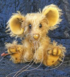 Bentley a 5 inch golden brown mohair Mousebear by bearsofbath