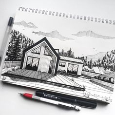 "125 Likes, 1 Comments - ABSV Dastan (@absvdsgn) on Instagram: ""Barn house sketch. . . . #sketch #sketchbook #sketchlover #architecture #barnhouse #exterior…"""