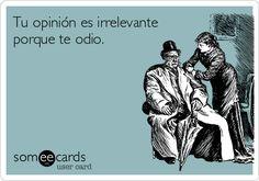 Tu opinión es irrelevante.