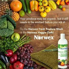 Your produce may be organic, but it still needs to be washed before you eat it! According to Charles Gerba, PhD., 80% of food-borne illnesses occur in the home. To avoid residues, scrub all fruits and vegetables before eating. Try the Norwex Fresh Produce Wash or the Norwex Veggie Cloth.  Http://beccastanton.norwex.biz