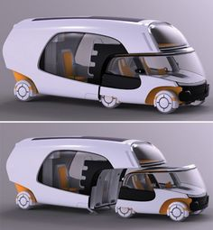 An RV concept morphs between car and house within minutes, making exploration more efficient. So cool!!