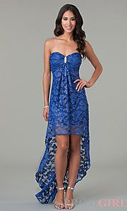 Buy High Low Strapless Sweetheart Lace Dress at PromGirl