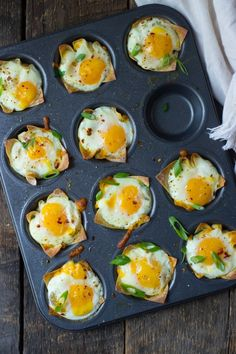 Cheesy Wonton Breakfast Cups