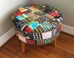 Patchwork furniture,round footstool,round ottoman,Midcentury Modern furniture