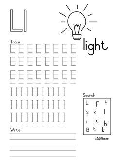 L for light Alphabet Printable FREE! • KraftiMama L And Light, Camping Games, Grade 1, Worksheets, Free Printables, Words, School, Free Printable, Literacy Centers