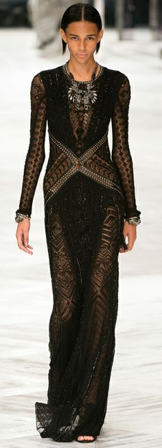 black lace lovely summer evening dress by Roberto Cavalli Spring-Summer RTW 2014