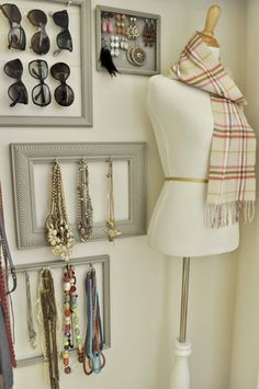 Attach hooks to picture frames and use for jewelry, etc.