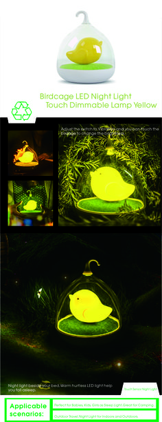 Cute Birdcage dimmable lamp,Night light beside your bed.Slide the switch to VIBRATION ,touch and hold the Birdcage to dim.Built-in 700mAh High Capacity Lithium Battery,USB charging Night Light .