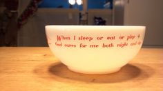 ANCHOR HOCKING FIREKING red words childs prayer soup/cereal bowl on Etsy, $20.00