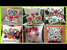 PRECIOSOS COJINES BORDADOS / TUTORIAL GRATUITO PASO A PASO - CURSOS GRATUITOS Crewel Embroidery Kits, Embroidery Flowers Pattern, Hand Embroidery Designs, Flower Patterns, Punch Needle, Sewing Techniques, Coin Purse, Lily, Gift Wrapping