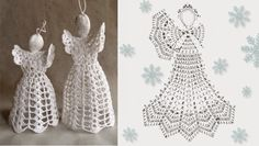 Relasé: Christmas decorations: crochet angel - scheme- Relasé: Addobbi natalizi: angelo all'uncinetto – schema Relasé: Christmas decorations: crochet angel – scheme - Crochet Christmas Ornaments, Christmas Crochet Patterns, Crochet Snowflakes, Angel Ornaments, Christmas Angels, Christmas Crafts, Christmas Decorations, Crochet Angels, Crochet Bear