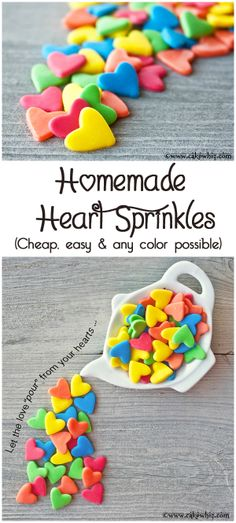 HOMEMADE JUMBO HEART SPRINKLES ... easiest and cheapest things you will ever make! From cakewhiz.com