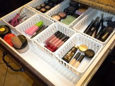 This looks like my makeup drawer! 50 Genius Storage Ideas (all very cheap and easy!) Great for organizing and small houses.