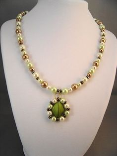 Fall Pearl Necklace with Satin Focal Bead by UniqueBeadedGifts, $27.00